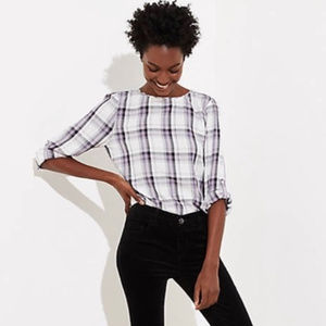 NWT LOFT Plaid Buffalo Checker Purple Top
